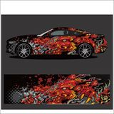 Car decal , Dragon tattoos style abstract stock illustration