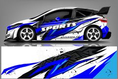 Free Car Decal Wrap Design Vector. Graphic Abstract Stripe Racing Background Kit Designs For Vehicle, Race Car, Rally, Adventure And Li Royalty Free Stock Photo - 143003955