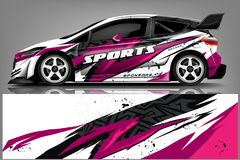 Free Car Decal Wrap Design Vector. Graphic Abstract Stripe Racing Background Kit Designs For Vehicle, Race Car, Rally, Adventure And Li Stock Images - 143004324