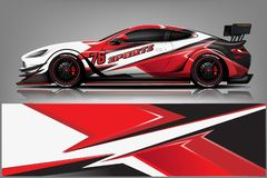 Free Car Decal Wrap Design Vector. Graphic Abstract Stripe Racing Background Kit Designs For Vehicle, Race Car, Rally, Adventure And Li Stock Images - 143005604
