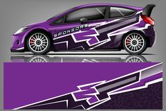 Free Car Decal Wrap Design Vector. Graphic Abstract Stripe Racing Background Kit Designs For Vehicle, Race Car, Rally, Adventure And Li Stock Images - 143649044