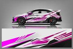 Car decal wrap design vector. Graphic abstract stripe racing background kit designs for vehicle, race car, rally, adventure and li stock illustration