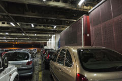 Car deck on ferry. Car deck with cars and trucks on a ferry sailing the Mediterranean Sea royalty free stock photo