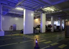 Car deck of a ferry ship. Autos in the car deck of a ferry ship in Tangier Med, Morocco royalty free stock images
