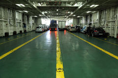 Car deck of a ferryboat. To Lanzarote, Spain. Photo taken at 12th December 2011 royalty free stock image