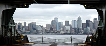 Car Deck View of Seattle Stock Image