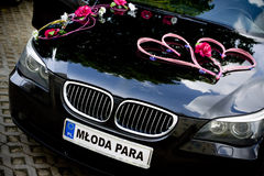 Car decked with flowers for your wedding Stock Images