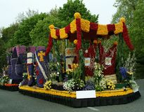 Car decorated with flowers, flower parade, Keukenhof garden. Flower parade, Keukenhof garden, Lisse, Netherlands. Nice Background. The beauty of the world royalty free stock photos