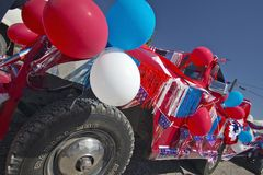 A car decorated in red, white & blue in Lima Montana Royalty Free Stock Photos