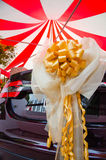 Car decorated with ribbon Stock Photos