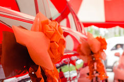 Car decorated with ribbon Royalty Free Stock Photo