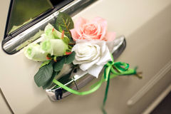 Car decoration with a buttonhole on the door Royalty Free Stock Photography