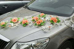 Car with decorations from flower Stock Photo