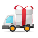 Car Delivery Gift Box Isolate Vector Royalty Free Stock Photography