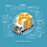 Car Delivery Service Conceptual Isometric Flat Style. Royalty Free Stock Photo