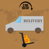 Car Delivery With World Map Stock Photography