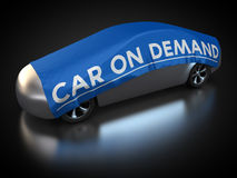 Car on demand. 3D rendering: car with abstract carbody is covered with tarpaulin Royalty Free Stock Photography