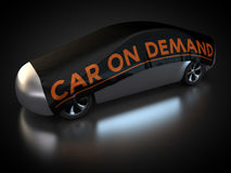 Car on demand. 3D rendering: car with abstract carbody is covered with tarpaulin Stock Photography