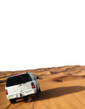 Car in desert. Back view  of white car in desert with tire tracks Stock Image