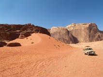 Car at Desert. Wadi Rum (JORDAN Royalty Free Stock Images