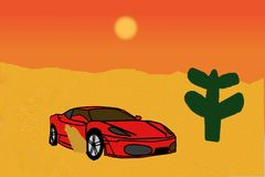 Car in the Desert. This is a digital illustration. The illustration shows a red sports car, which is driving. The sand moves along the car. Beside stands a Royalty Free Stock Photo