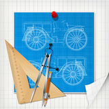 Car design blueprint layout Royalty Free Stock Images