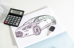 Car design, key and calculator Royalty Free Stock Image