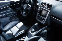 Car design, leather seat and control panel Stock Photos