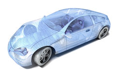 Car design, wire model stock illustration