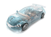 Car design, wire model. Stock Photos