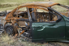 Car destroyed by fire Royalty Free Stock Image