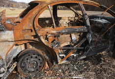 Car destroyed by fire Royalty Free Stock Photos