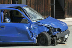 Car destroyed in a traffic accident Stock Photography