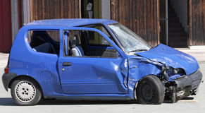 Car destroyed in a traffic accident Royalty Free Stock Photos