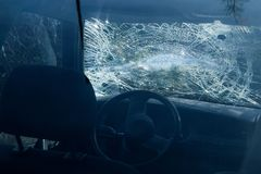 Car destroyed during the traffic accident royalty free stock photo