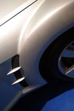 Car detail. Silver sport car detail in a motor show Royalty Free Stock Photos