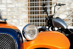 Car detail and motorcycle Royalty Free Stock Images