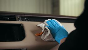 Car detailing - cleaning vehicle head panel - glove box
