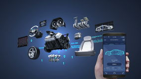 Car diagnosis management application using mobile, smart phone, Vehicle parts,Engine, safety seat, panel, navigation.