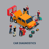 Car Diagnostic Auto Center Isometric Composition Stock Photography