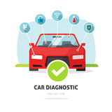 Car diagnostic service concept vector, auto maintenance test station Royalty Free Stock Photos