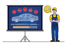 Car diagnostics loading bar with serviceman vector illustration. Car technical maintenance concept with warning signs: check engine, oil pressure, generator Stock Photos