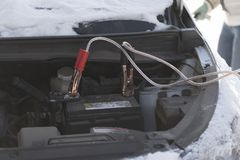 The car did not start because of the cold temperature. The termi Stock Photos