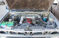Car diesel engine. Old diesel engine of truck, car, old vehicle engine Stock Photo