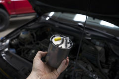 Car diesel fuel filter Stock Images