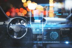 Car with digital interface. Car interior with digital interface on blurry bokeh background. Double exposure Royalty Free Stock Image