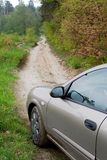 Car dirt road side view Stock Photography