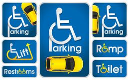 Car Disabled Parking Sign helping people with disabilities. The evident navigation signs helping people with disabilities it is convenient to be guided in the vector illustration