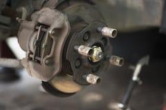 Car Disc Brake. Close up of car disc brake with selected focus for repair Stock Photo