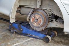 Car disc brake. Close up view of car disc brake without wheel Royalty Free Stock Image